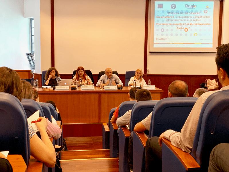 """- Seminar de informare finantari microintreprinderi Timisoara 1 - ADR Vest: """"Avem peste 10 milioane de euro la dispoziție, așteptăm proiecte de calitate"""""""