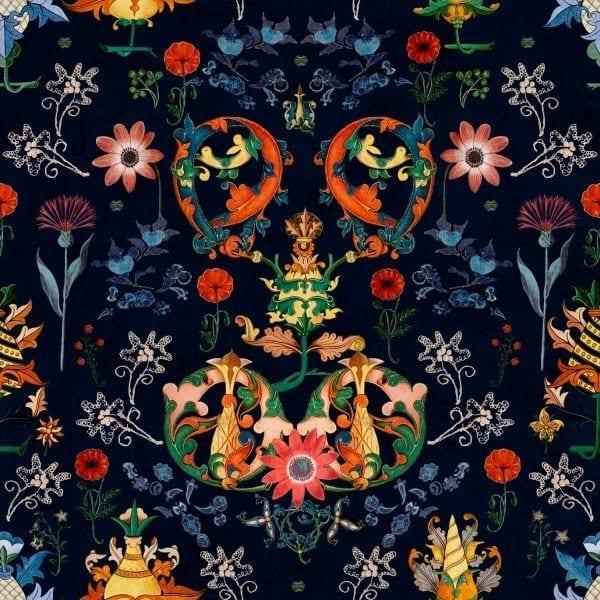 - TRANSYLVANIA FOLK in blue - MINDTHEGAP. În lumea tapetului, abajururilor și a textilelor care cuvântă