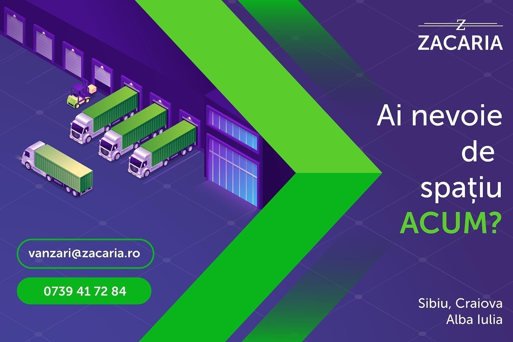 - Zacaria CTA - Zacaria oferă gratuit spații industriale ONG-urilor și instituțiilor care luptă împotriva COVID-19